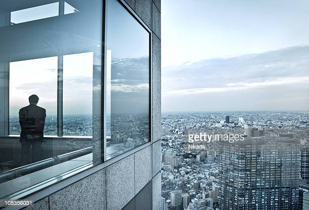man in a skyscraper