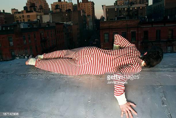 A man in a striped pyjamas, New York, USA.