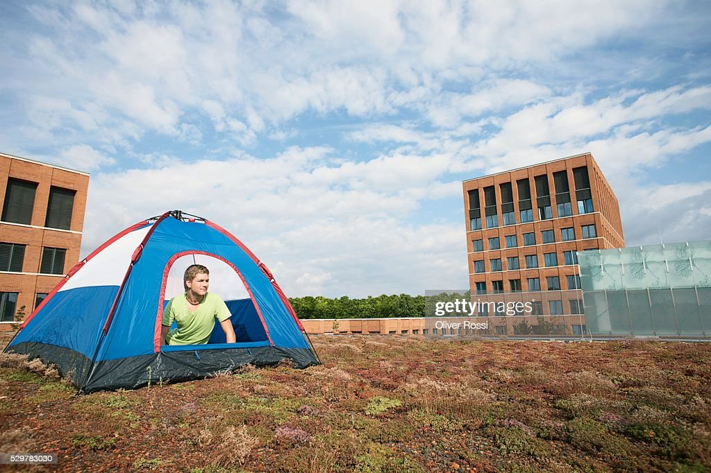 Man in a Tent : Stock Photo
