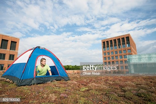 Man in a Tent : Foto stock