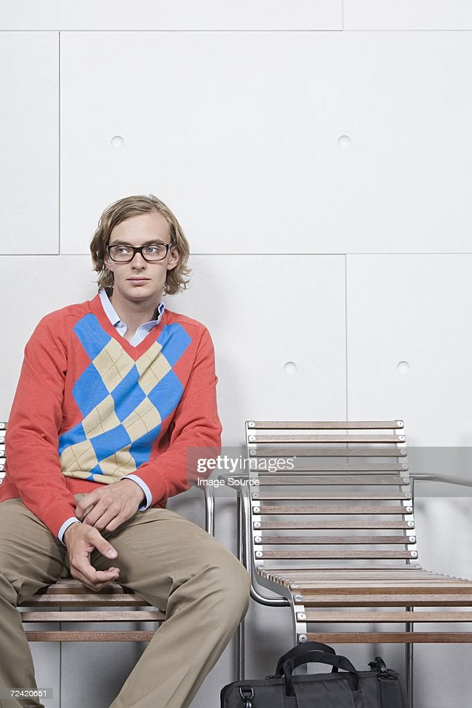 Man in a waiting room : Stock Photo