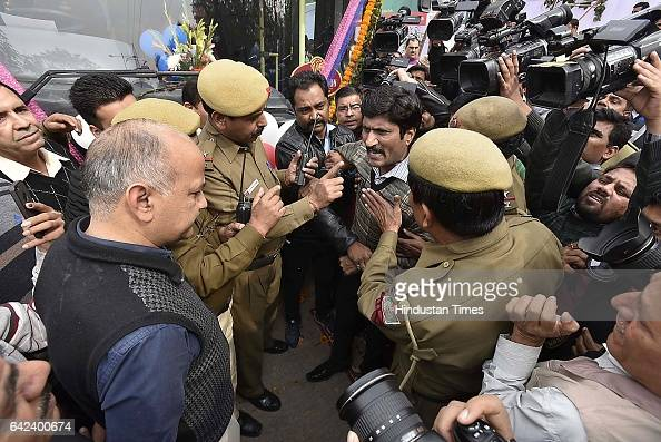 A man in arguments with Delhi Deputy Chief Minister Manish Sisodia during the flaggingoff ceremony of 100 new cluster buses at Delhi Secretariat on...