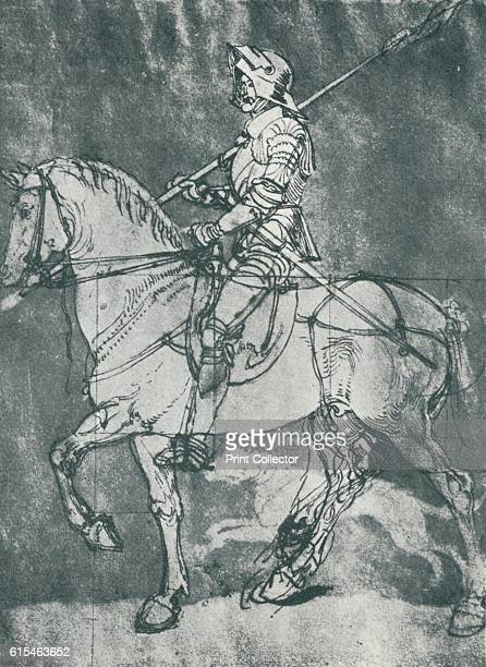 Man in Armour on Horseback' Northern Renaissance genre painting of a man on horseback interpreted as a Christian allegory for the soul armoured...
