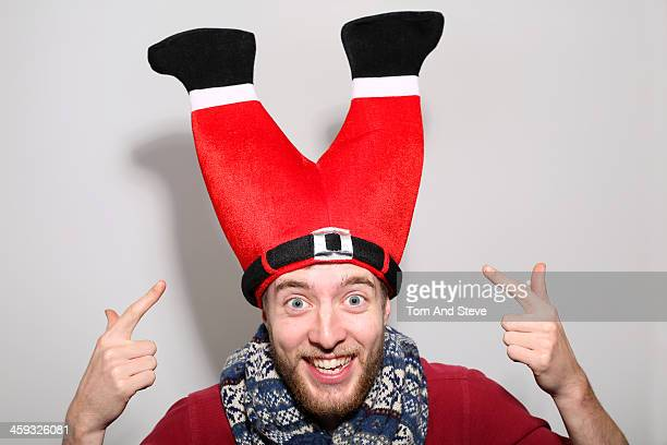 Man in bizarre Christmas hat