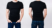 T-shirt design - man in black blank tshirt on gray background