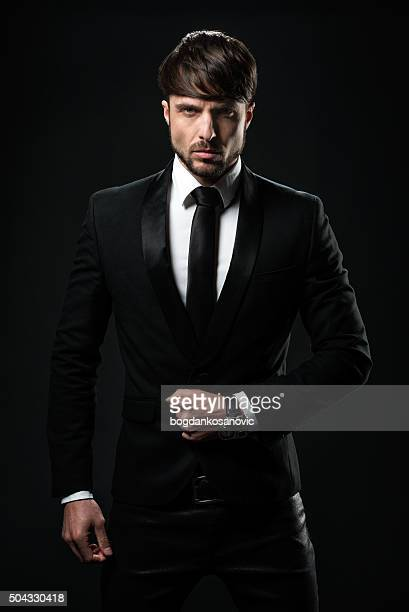 Man in black tuxedo