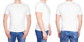T-shirt design - young man in blank white tshirt front, from side and rear isolated