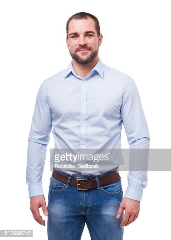 Man in blue shirt isolated on white : Stock Photo