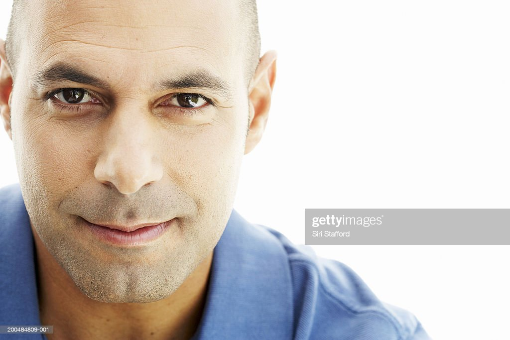 Man in blue shirt, portrait : Stock Photo