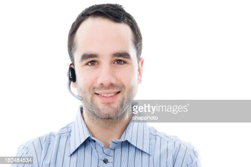 Man in Call Center with Headset