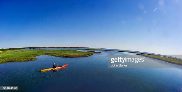 Man in canoe, Cape Cod, Massachusetts