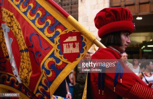 Man in costume, Il Palio parade.