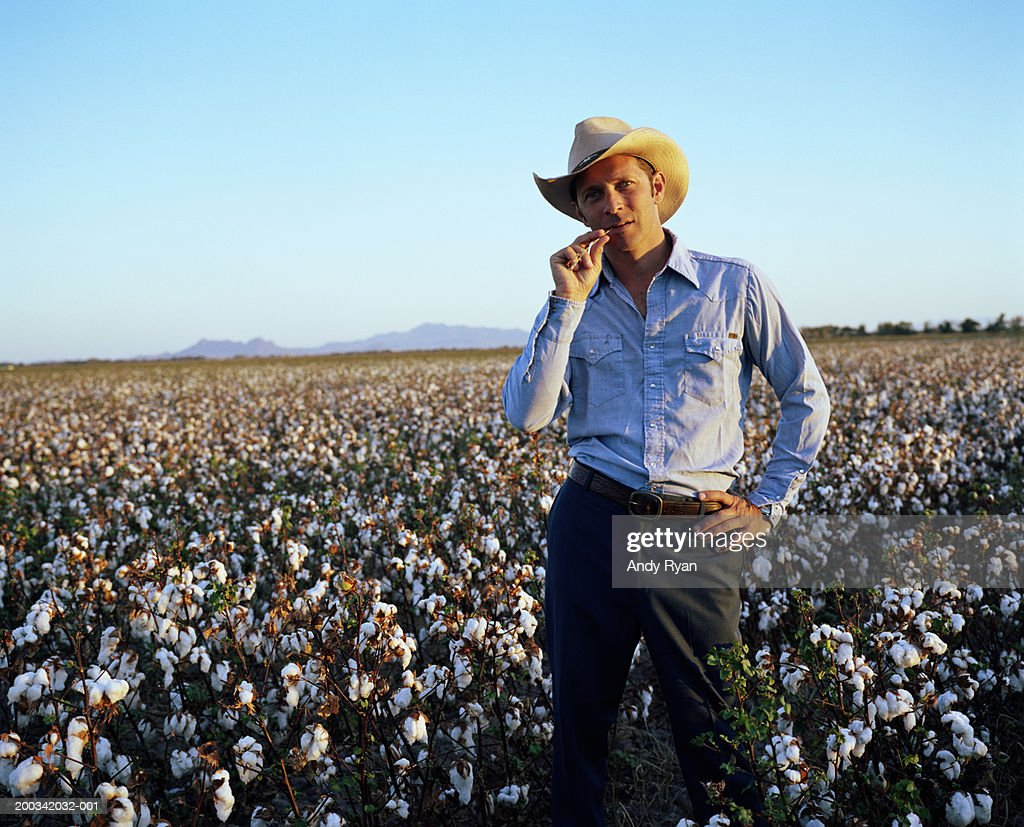 Man in cowboy hat standing in cotton field, portrait, close-up : Stock Photo