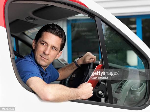 man in delivery van