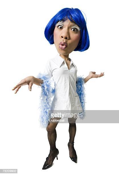 Man in dress with blue wig and pantyhose