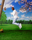 Man in Easter Bunny costume jumping