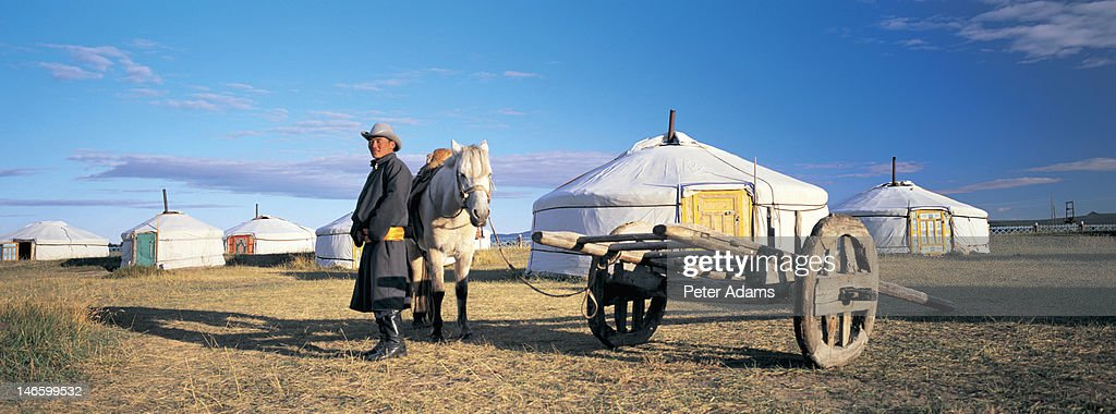 Man in Front of Gers or Yurts, Mongolia : Stock Photo