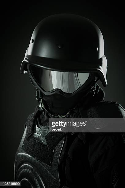 Man in Full Security Riot Police Gear