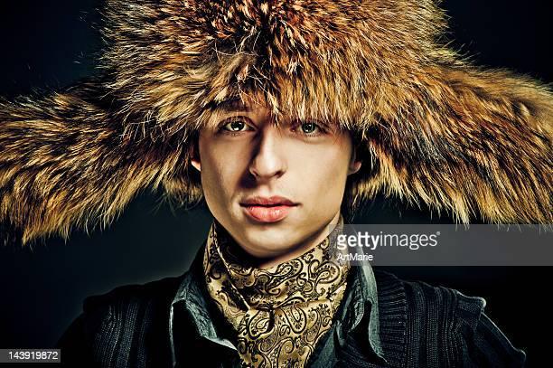 Man in furry hat