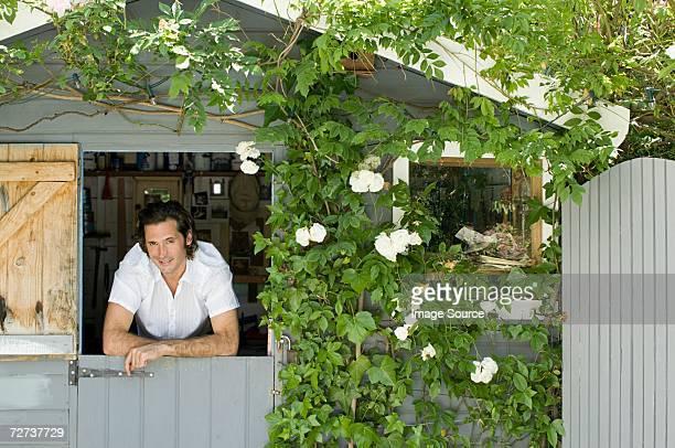 Man in garden shed