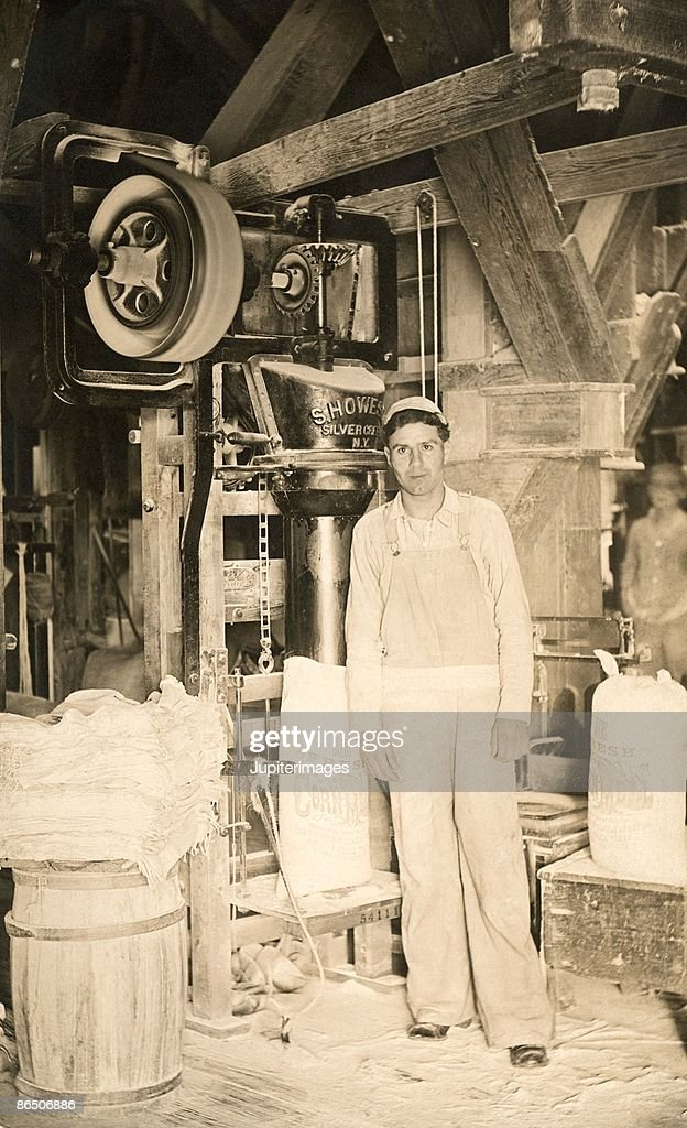 Man in grist mill
