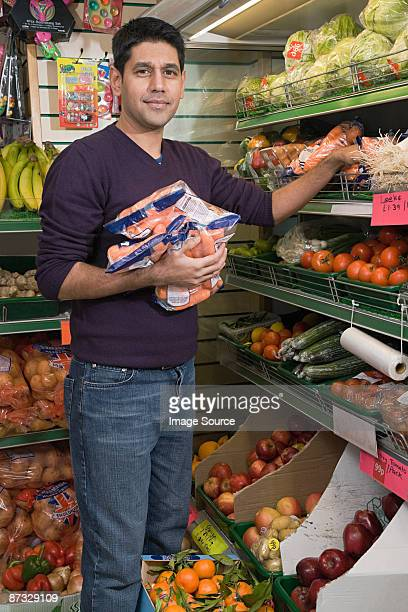 Man in grocery shop