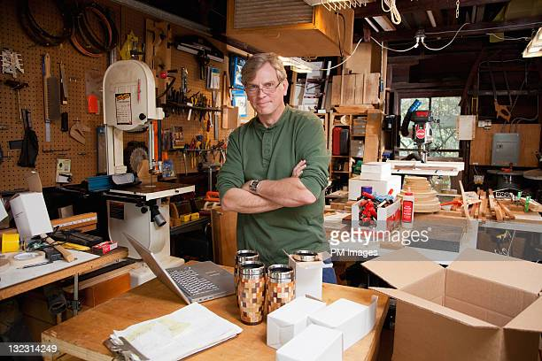 Man in his wood shop