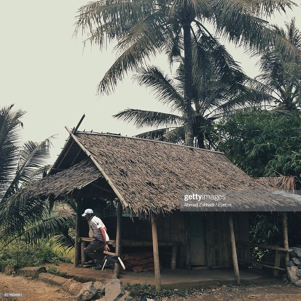 Man In Hut At Forest
