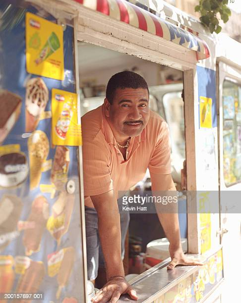 Man in ice cream truck, portrait