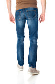 Man in jeans with reflection on white background