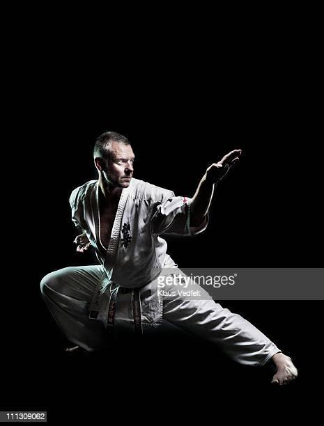 Man in karate exercise