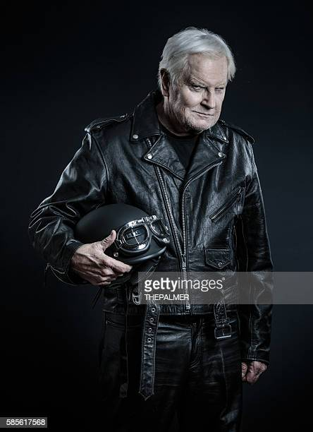 Man in leather outfit and helmet