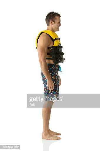 Man in life jacket : Stock Photo