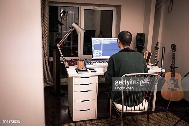 A man in music studio
