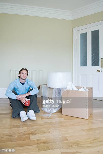 Man in new house