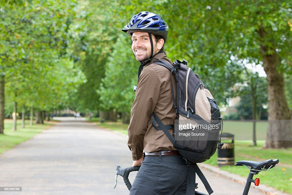 Man in park with bike