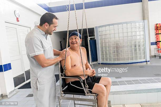 Man in physical therapy at the hospital