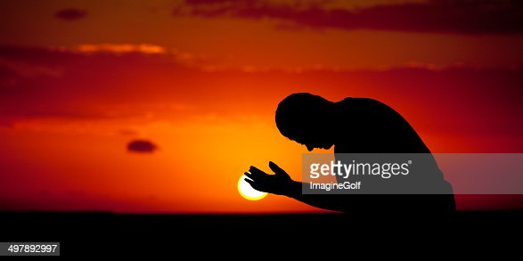 Man in Prayer Panorama Silhouette