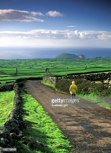 Man in Raincoat Walking Down Hill with Lush Green Fields