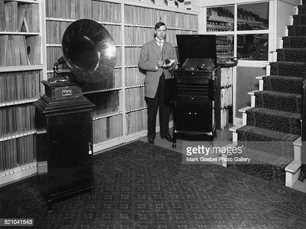 Man in record store mid 1920s