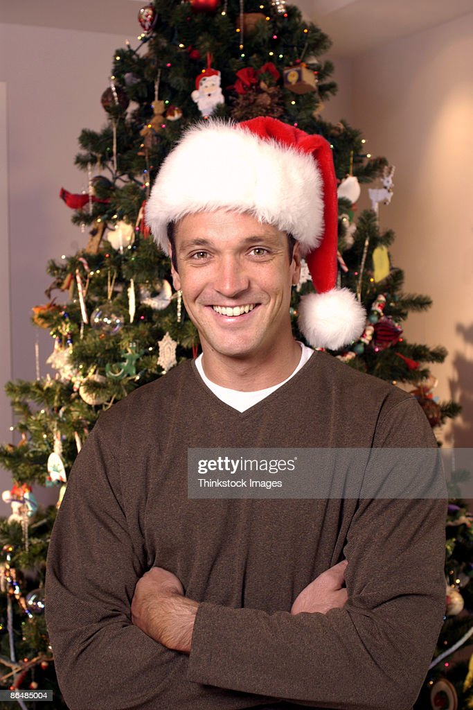 Man in Santa hat : Stock Photo