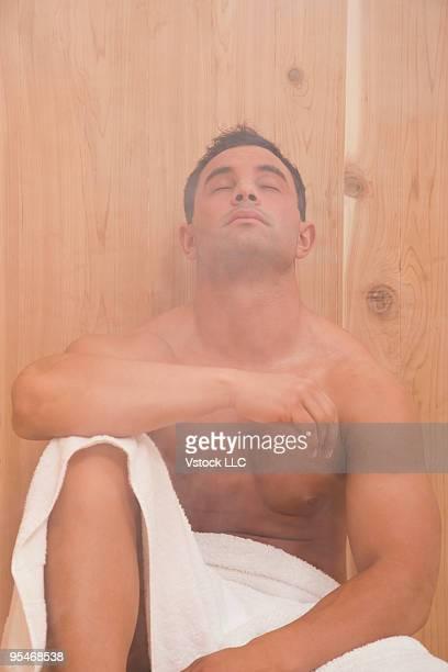 Man in sauna