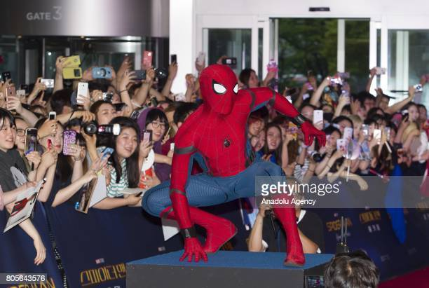 A man in SpiderMan costume poses during the Red Carpet Event for 'SpiderMan Homecoming' at Times square CGV theater in Seoul South Korea on July 02...