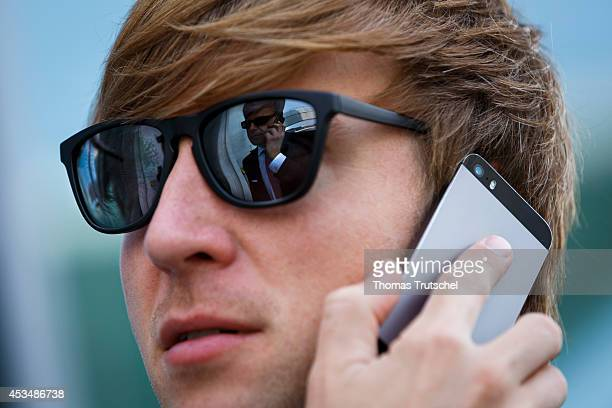 A man in suit on the phone on August 07 2014 in Berlin Germany