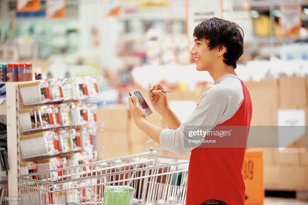 Man in superstore : Stock Photo