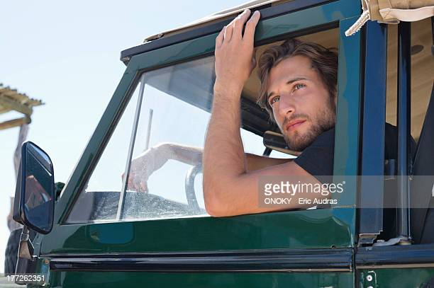 Man in SUV