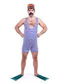 Man in swim dress standing with hands on hips