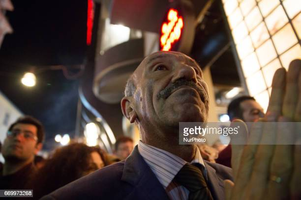 A man in the crowd during a protest in the Kadikoy neighborhood of Istanbul on April 18 2017 People marched in opposition to perceived voting...
