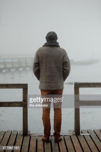 Man in the fog : Stock Photo