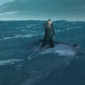 Man in tiny boat on choppy sea